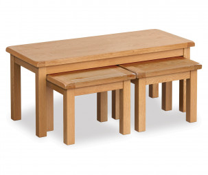 Bergerac Oak long john nest of 3 tables-0