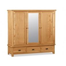 Bergerac Oak extra large triple wardrobe-0