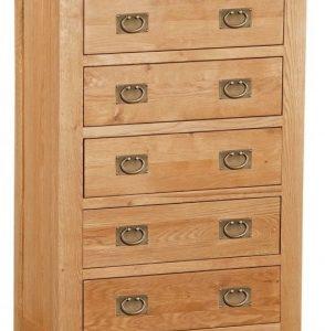 Bergerac Oak 5 drawer chest-0