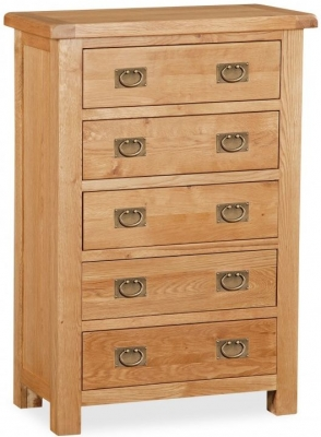 Bergerac Oak 5 drawer chest-0