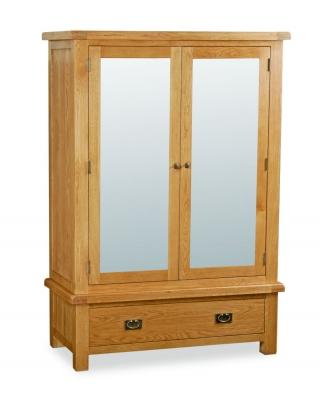 Bergerac Oak wide mirrored wardrobe-0