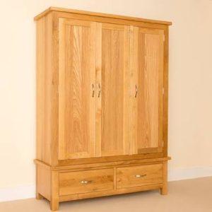 Trinity Petite Oak triple wardrobe-0