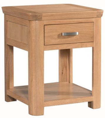 Treviso Oak end table with drawer-0